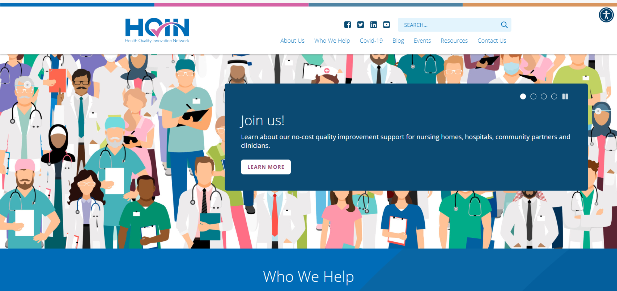 Screenshot of the HQIN website home page