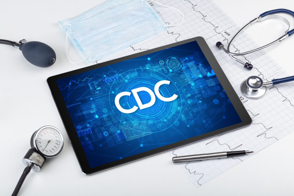 Close-up view of a tablet pc with medical abbreviation